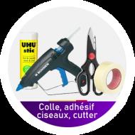 Colle, adhesif, ciseaux